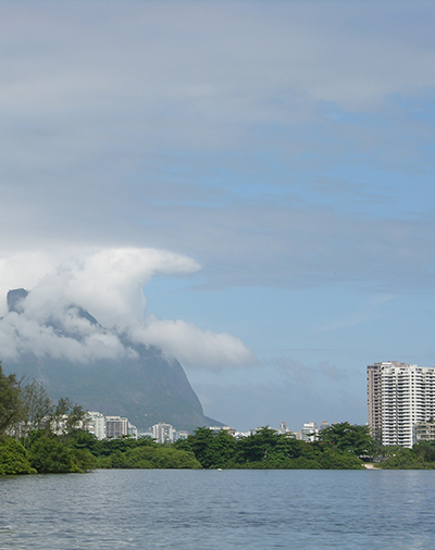View to Pedra da Gavea from lake in Barra da Tijuca