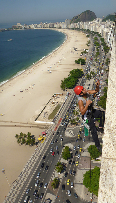 The view to Copacabana from Leme, from the top of a luxury hotel.