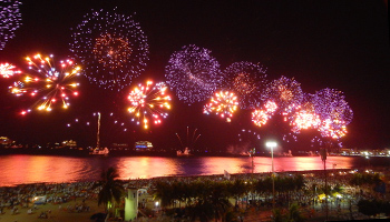 View to the fireworks from Posto 1 in Leme, Copacabana