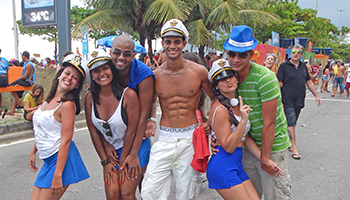 Friends getting together to parade at Banda de Ipanema