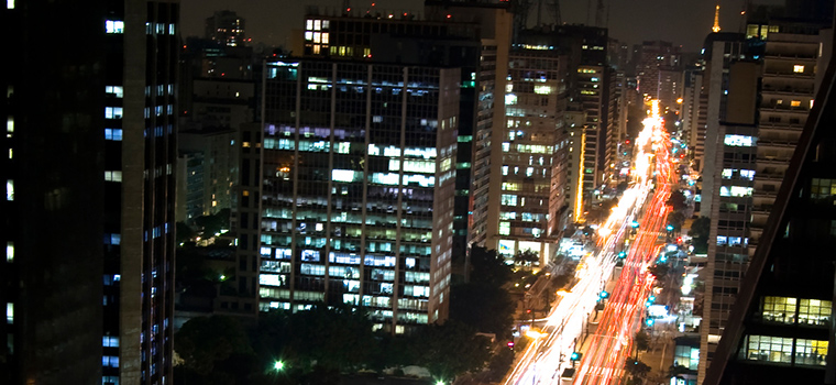 City view of Ave. Paulista at night.